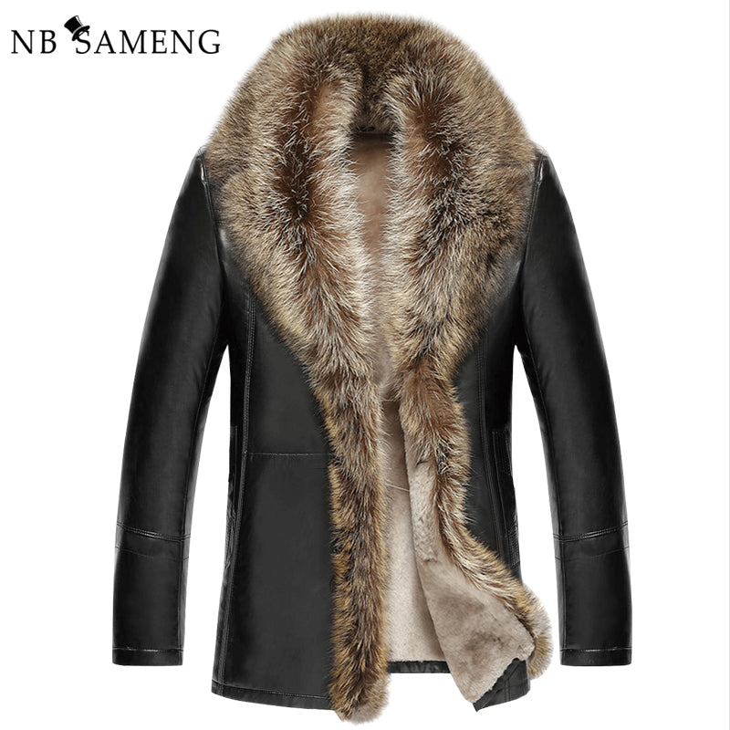 2017 Men's Leather Jacket Lambswool Genuine Leather Jacket Men Thick Raccoon Fur Collar Jaqueta Couro Masculino 13M0684