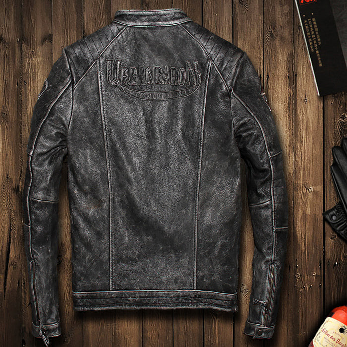 2017 Men's Vintage Black Motorcycle Genuine Leather Jacket Slim Fit Real Thick Cowhide Male Short Leather Biker Coats M-6XL