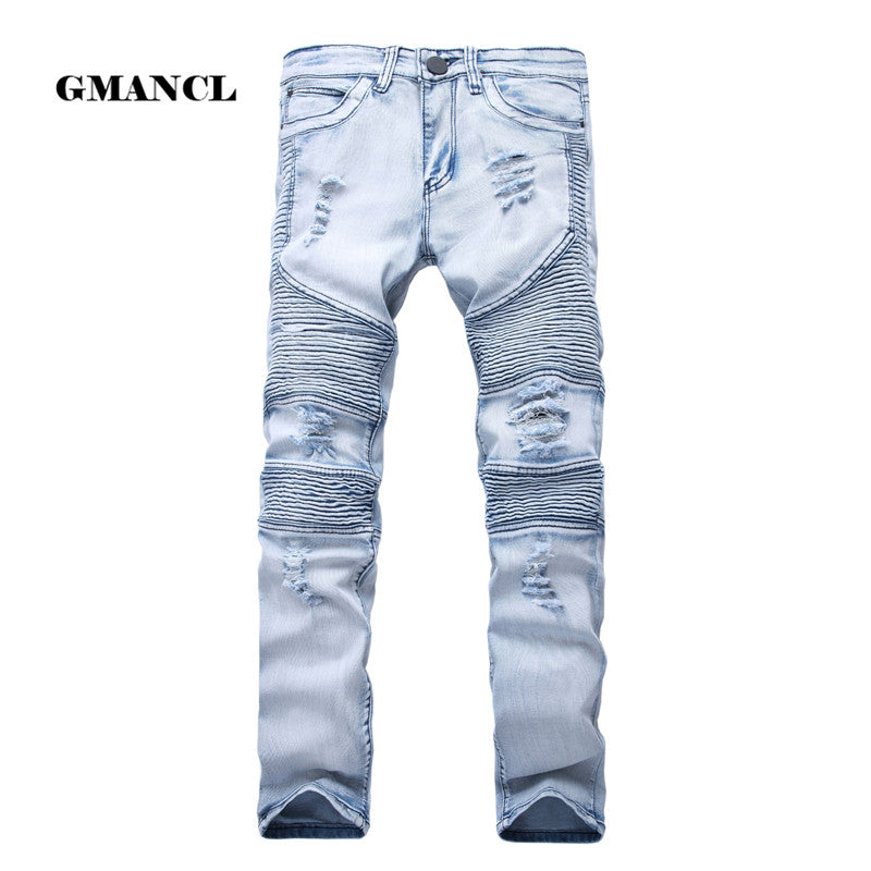 2017 Mens Skinny Jean Distressed Slim Elastic Jeans Denim Biker Jeans Hip hop Pants Washed Ripped Jeans plus size 28-42,YA558