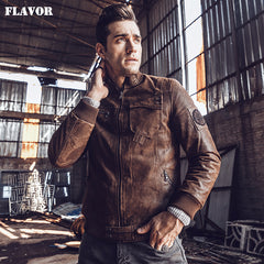2017 NEW Mens Motorcycle Real leather jacket Male Bomber winter warm Padding Cotton Genuine Leather Jacket