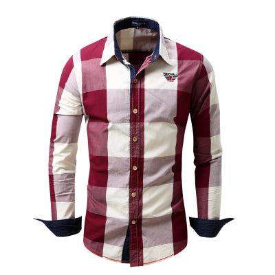 2017 New Arrival Men's shirt  Long Sleeve Shirt Mens Dress Shirts Brand Casual  Fashion Business Style Shirts 100% Cotton 064