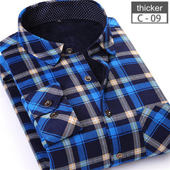 2017 New Arrival Winter Men Warm Plaid Casual Shirts Man Long Sleeve Thick Dress Shirts Plus Size Mans Shirt Male Tops