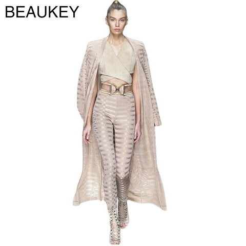 2017 New Arrivals Long Sleeve Belt Sexy Women's Rayon Best Quality Jacquard Long Bandage 2 Piece Set Bodycon Pants Coat & Cloak