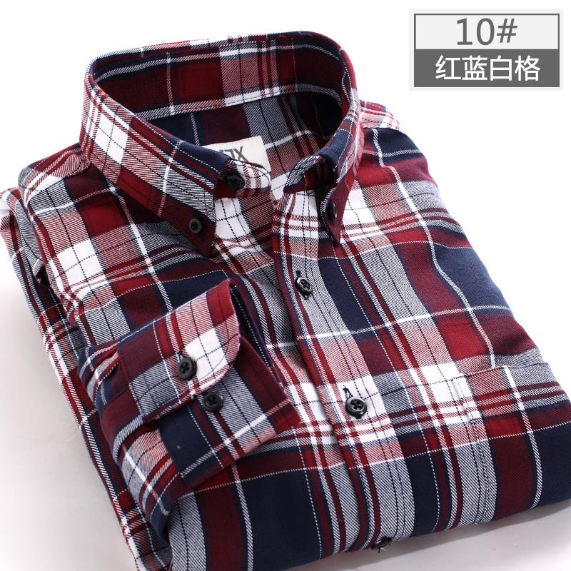 2017 New Autumn Brand Men's Plaid Shirt Male Warm Long Sleeve Shirt Plus Size Youth Office Business Casual Shirt Men 1
