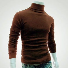 2017 New Autumn Mens Sweaters Casual Male turtleneck Man's Black Solid Knitwear Slim Brand Clothing Sweater