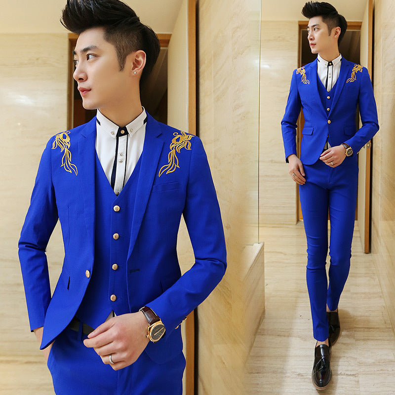 2017 New Design Royal Blue Classic Men's Suit Prom Party Blazer 3 Piece Embroidery Slim Fit Groom Tuxedos Groomsman Suit Terno