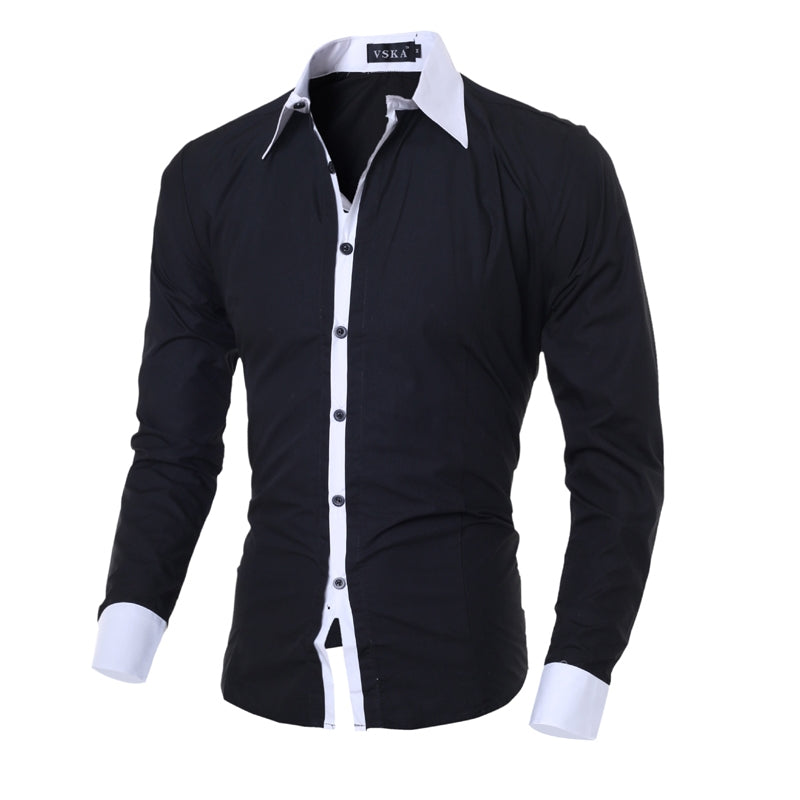 2017 New Fashion Brand Casual Men Shirt Long Sleeve Slim Fit Solid color Shirt Black Mens Dress Shirts Men Social Clothes M-XXL