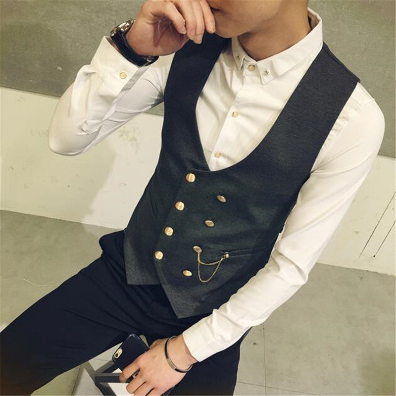 2017 New Fashion Double Breasted Slim Chaleco Sleeveless Cotton Waistcoat Suit Vest The back strap 3 Color Male Dress Vest M-5XL