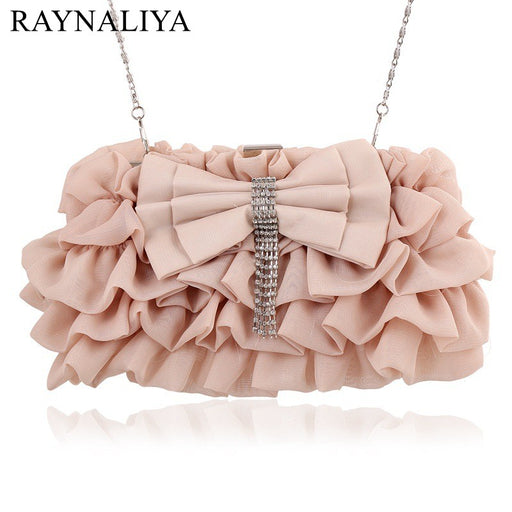 2017 New Fashion Girl Princess Sweet Ruffle Bow Handbag Lady's Top-handle Tote Womens Elegant Evening Bags Luxury XST-A0029