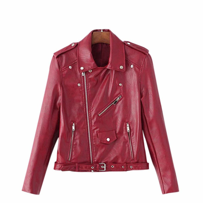 2017 New Fashion Motorcycle PU Leather Jacket Lady Silm Faux Soft Leather Blazer Autumn 5colors Zipper Outerwear Coat with Belt