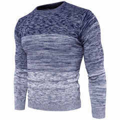 2017 New Mens Round Neck Gradient Color Sweater Fashion Men Cotton Long Sleeve Sweater Male M-3XL Autumn Winter