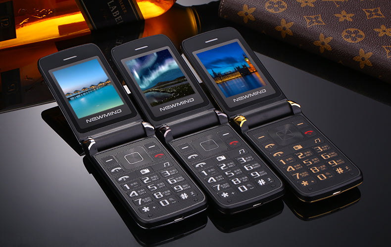2017 New Newmind V518 Women Flip Phone With Double Dual Screen Camera MP3 MP4 Dual Sim Card 2.4 inch Luxury Cheap Phone
