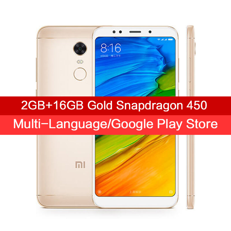 "2017 New Original Xiaomi Redmi 5 2GB 16GB Smartphone 5.7"" 18:9 Full Screen Display Snapdragon 450 Octa Core Fingerprint MIUI 9"