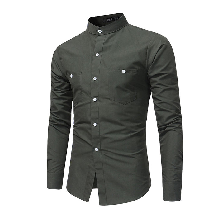 2017 Pockets Mandarin Collar Solid Shirts Brand-clothing Mens Dress Shirts Long sleeve Slim Fit Smart Casual Man Chemise homme