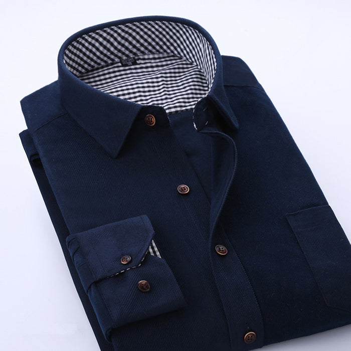 2017 Spring Men Casual Shirts Man Corduroy Long Sleeve Solid Color Fashion Stitching Plaid Lining Slim Fit Dress Shirt 4XL M040
