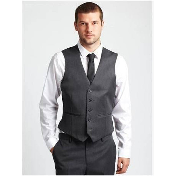 2017 Vest Men Suit Set Dress Vests For Men Best Man Groom Wedding Prom Light Grey Mens Classic Vest Waistcoat Men (Vest+Pants) 1