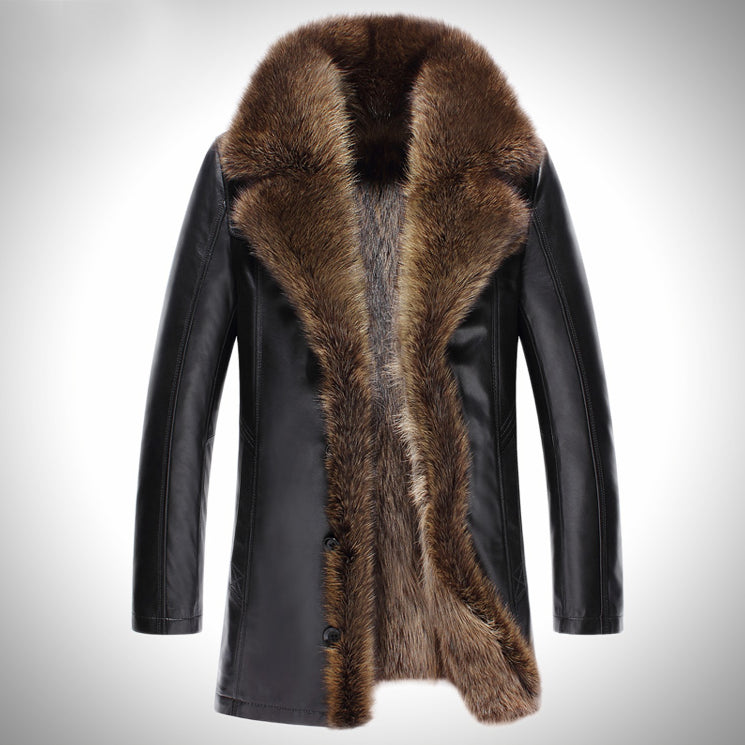 2017 Warm Fur Genuine Leather Men Coats -40 Degree Russia Warm Snow Fur Collar Fashion Brand Slim Motorcycle Coats G0002