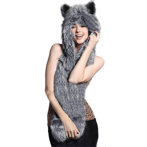 2017 Winter Animal Hooded Poncho 3 In 1 Women Faux Animal Fur Hat Fluffy Scarf Shawl Pocket Plush Ladies Hat Scarves Gloves Warm