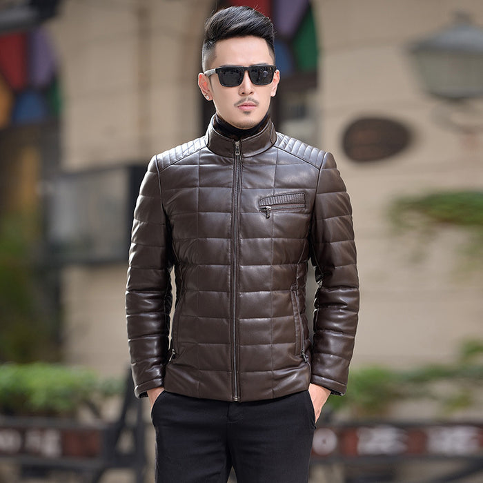 2017 Winter Arrival Men Leather Jacket Brand Short Slim White Duck Fur Stand Collar Design Leather Jacket Coat Outwear