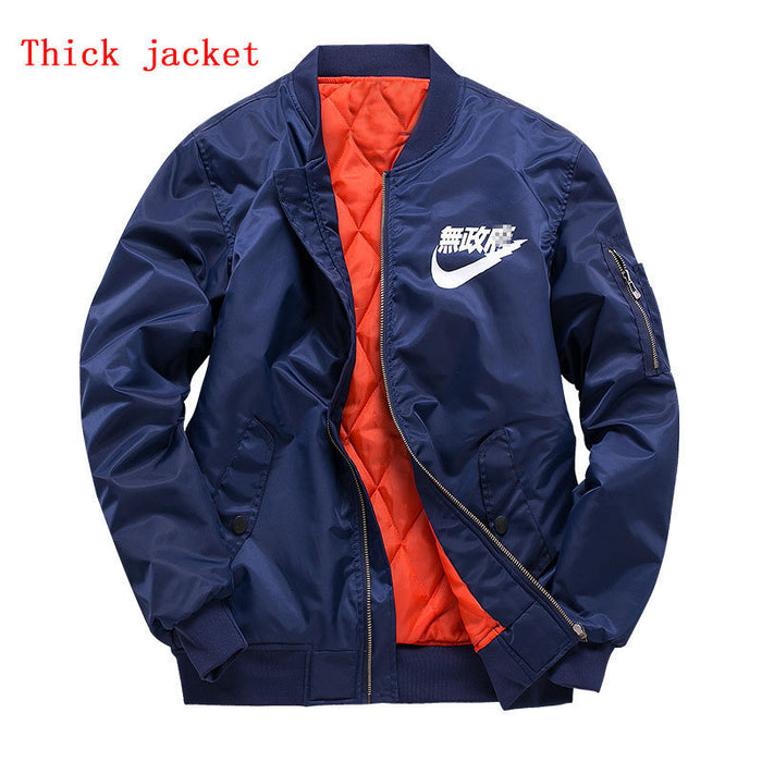 2017 Winter Men Flying Bomber Thick Jacket Japan Military Outwear MA1 Flight Pilot Coat Male Varsity College Outerwear Overcoat