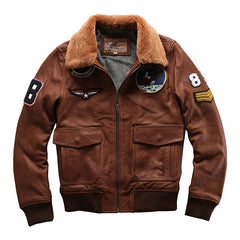 2017 Winter Men's Coat Fur Collar Sheepskin Casual  Air Force Flight Jacke Real Genuine Leather jacket Men Bomber Jacket