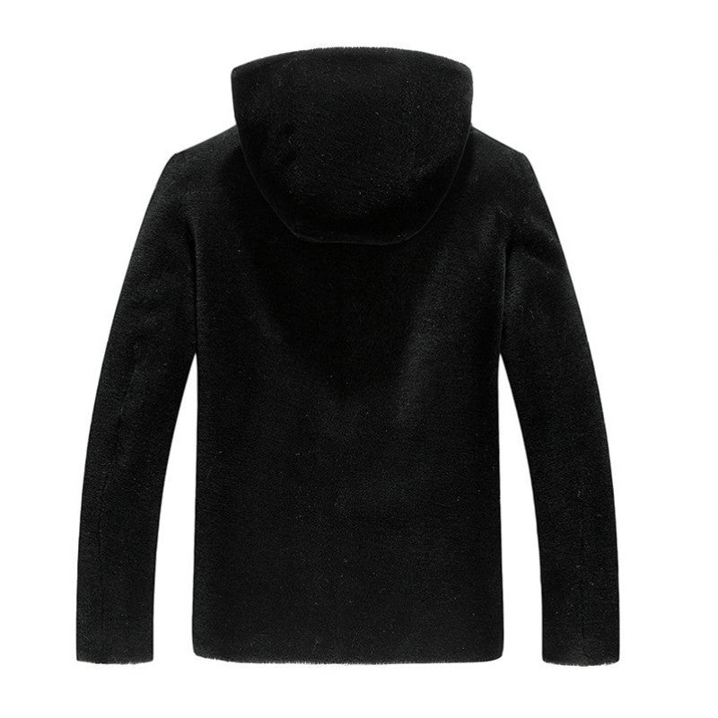 2017 Winter New Fashion Mens Real Fur Hooded Coats Warm Genuine Leather Zipper Male Long Sleeved Wool Outwear Plus Size Black