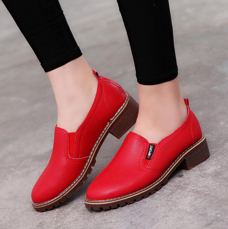 2017 Women Flat Shoes Round Toe Lace-Up Oxford Shoes Woman Genuine Leather Brogue  Women Shoes Free Shipping XY65