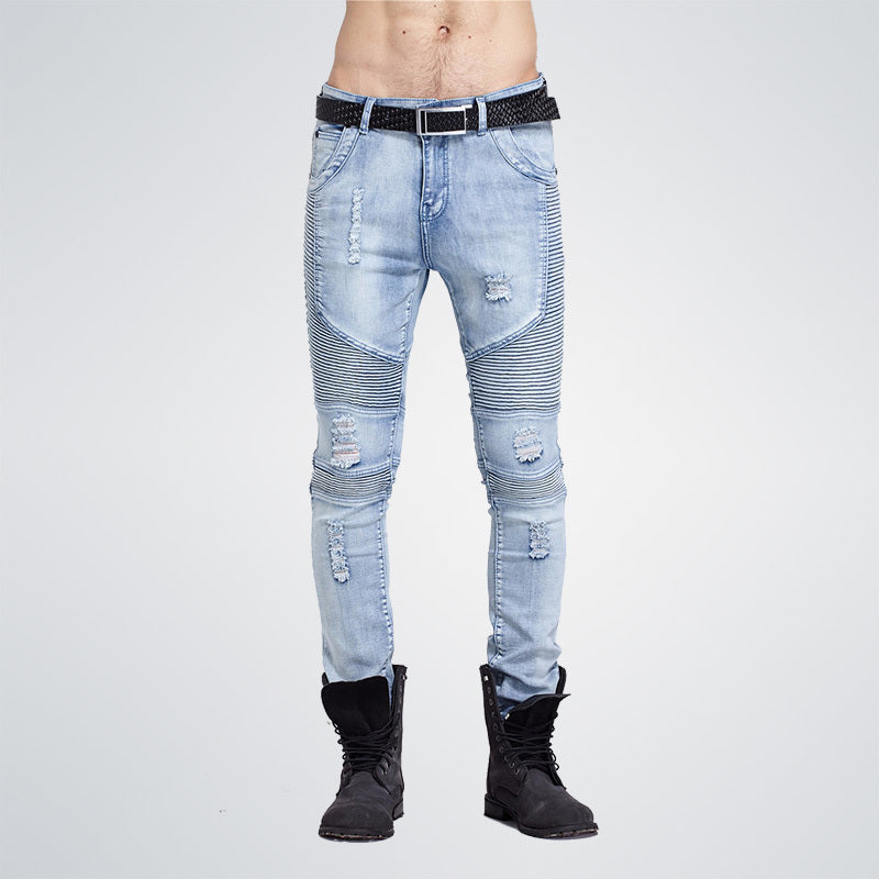 2017 hip-hop Men Jeans masculina Casual Denim distressed Men's Slim Jeans pants Brand Biker jeans skinny rock ripped jeans homme