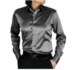 2017 long sleeve autumn spring thin fashion loose casual silk men dress shirt plus size plus size  soft male good quality top 1