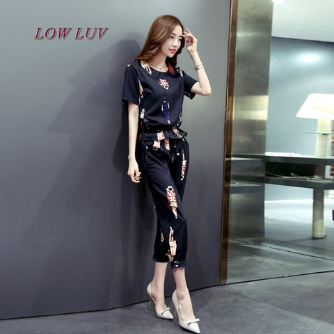 2017 summer women's casual suit short-sleeved printed T-shirt and Capris pants women's two-piece suit/