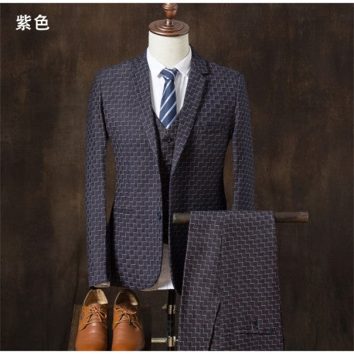 2017new arrival men's high quality fashion Single breasted suits men,Classic men's suit Stripe business wedding  suit,size M-4XL