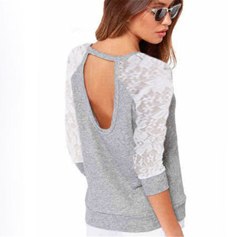 2018 2018 New Spring Women Sweatshirts Autumn Backless Embroidery Lace Casual Hoodies Female Long Sleeve Sweatshirts Tops Ladies