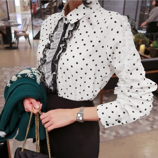 aedafaef4daa 2018 Autumn New Fashion Women Shirts Chic Lace Polka Dots Elegant White  Blouse Office Lady Chiffon