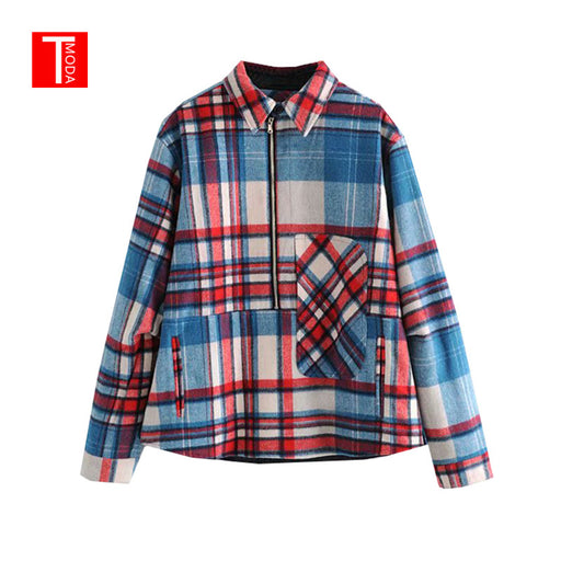 2018 Autumn Vintage Plaid Striped Patchwork Women Wool Coat Female Casual Zipper Pockets BF Style Loose Shirt Jackets Outwear