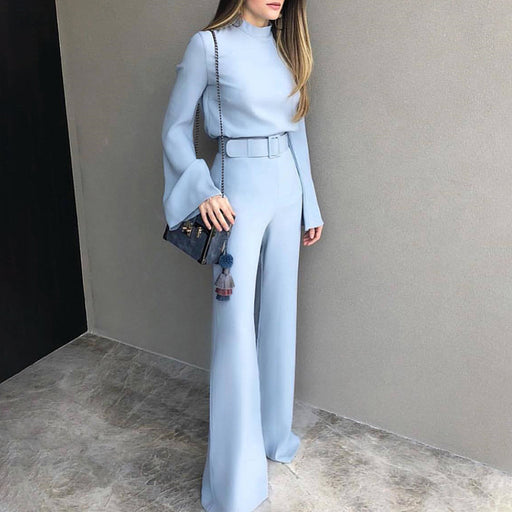 2018 Autumn Women Fashion Elegant Office Workwear Casual Pants Set High Neck Bell Sleeve Wide Leg Suit Sets With Belt