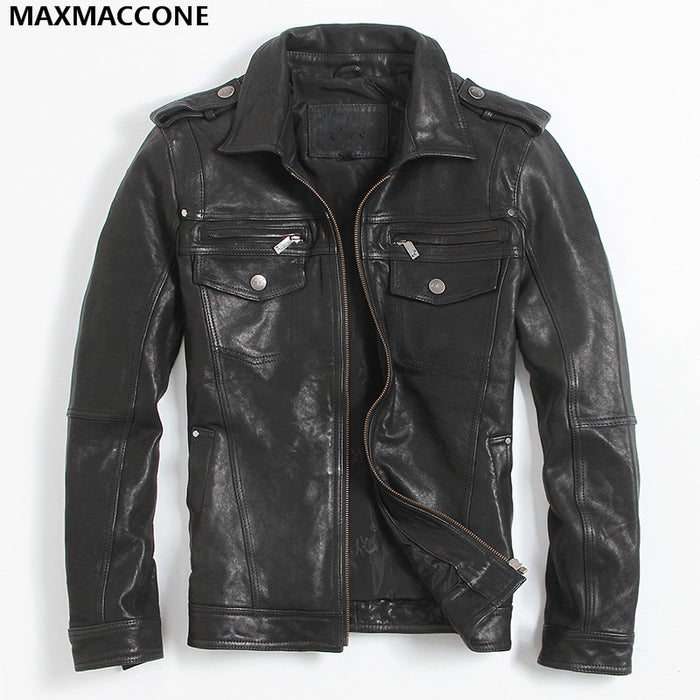 2018 Black Genuine Leather Mens Jacket Plus Size XXXL Genuine Sheepskin Winter Men Smart Casual Leather Coat FREE SHIPPING