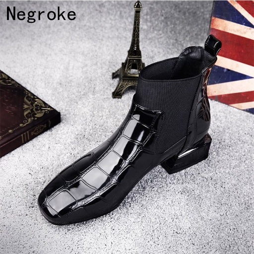 2018 Chic Women Boots Shiny PU Leather Autumn Winter Shoes Woman Spuare Toe Block Heels Peluche Ankle Boots Female Botas Mujer