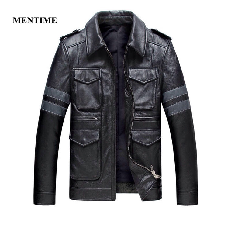 2018 Fashion Cow Leather Men Jacket Packets Coat Slim Genuine Cowskin XXXL Motorcycle Biker Fall Winter Jacket Free Shipping