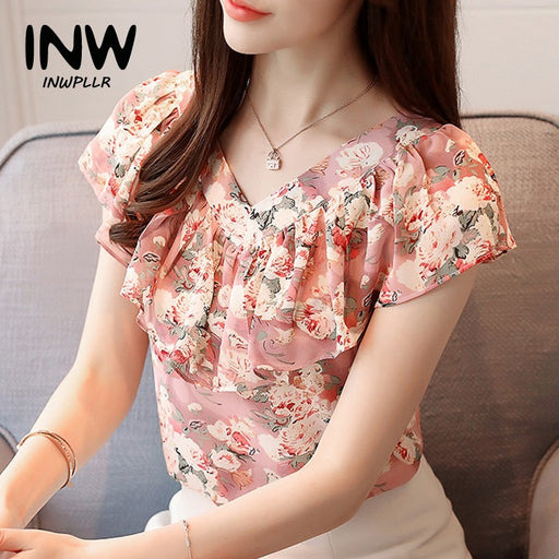 2018 Fashion Summer Blouses Women Shirts Plus Size Floral Tops Ladies Short Sleeve Chiffon Blusas Feminina Ruffled Blouse Mujer