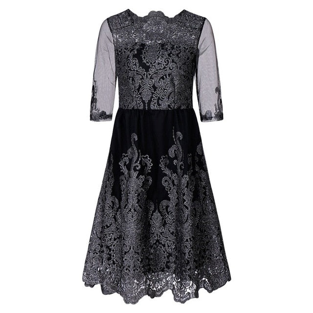 2018 Female Dress Plus Large Size Evening Party Dress Woman Retro Embroidery Loose Silver Line Dress Women Black Lace Dresses