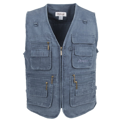 2018 Fishing Vest Summer Casual Mesh Men Outdoors Vest With Multi-Pockets Regular Two Colors Plus Size 3XL Cotton Waistcoat