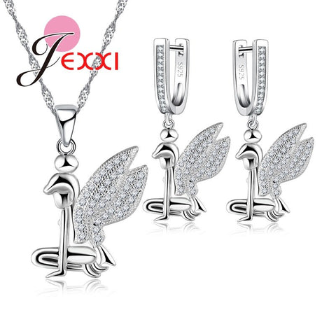 2018 Lovely Style Angel Wings Necklace 925 Sterling Silver color Necklaces Earring  Clear Austrian Crystal Jewelry Sets