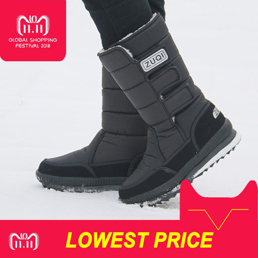 2018 Men Boots platform snow boots for men thick plush waterproof slip-resistant winter shoes Plus size 36 - 47