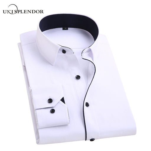 2018 Men Wedding Shirt Long Sleeve Men Dress Shirts Man Business Party Solid Casual Shirt Work Wear Formal Slim Male Shirt YN554