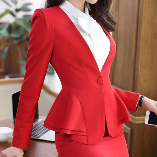 2018 NEW Spring women's suit pants Long-sleeve Ruffles Elegant women's two piece set business office ladies clothes set for work