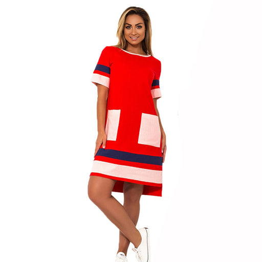 2018 New Arrival Women Dress Oversized Casual Straight Patchwork Vestidos  6XL Short Sleeve Big Size 5XL add93a0d905f