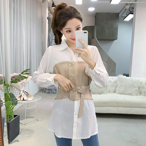 2018 New Autumn Women Shirts Solid Patchwork Full Sleeve Slim False Two Accept Waist Jackets Blouse Shirt Khaki Black 2257