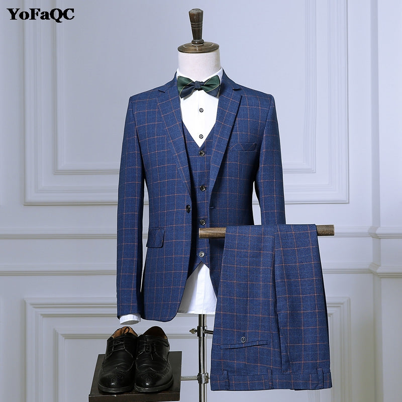 2018 New Classic Men Suits Plaid Terno Wedding Suit 1 Buttons Groom