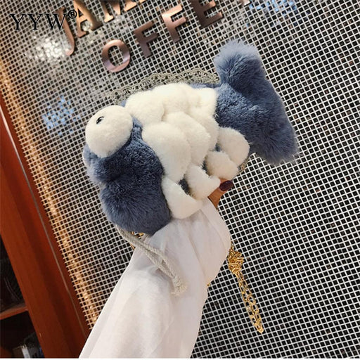 2018 New Cute Children Princess Hairy Messager Bag Girl Mini Crossbody Bag Fashion Fish Plush Fur Shoulder Messenger Bag Purse