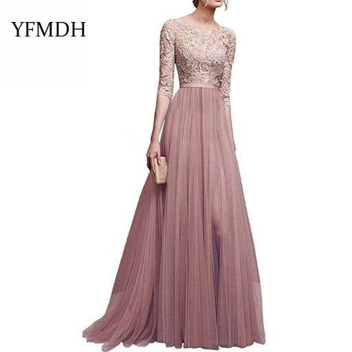 7811a30b5597 2018 New Elegant Full Sleeve Chiffon Lace Stitching Floor-length Women Party  Prom Evening Red